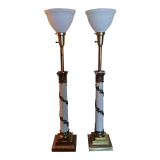 Mid Century Neoclassical Column Stiffel Table Lamps - a Pair