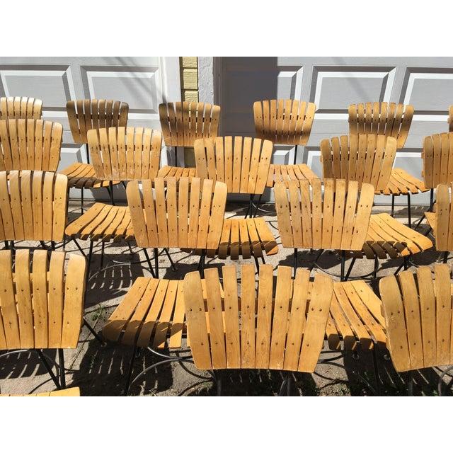 Arthur Umanoff Slatted Wood & Iron Chairs - Set of 30 For Sale - Image 6 of 13