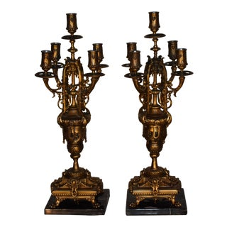 19th Century Antique French Empire Bronze Marble Candelabras - a Pair For Sale