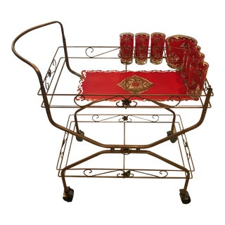 Mid Century Serving Rolling Bar Cart With Matching Starlyte Glassware - Set of 8