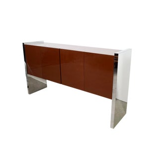Milo Baughman for Thayer Coggin Chrome Lacquered Credenza Server For Sale