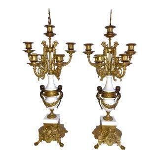 Brevettato Cherub Bronze & Marble Candelabras - A Pair For Sale