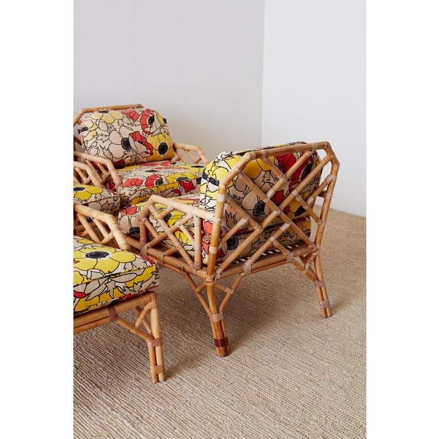 Brown Jordan Chinese Chippendale Rattan Bamboo Lounge Chairs For Sale - Image 12 of 13