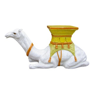 1970s Vintage Italian Majolica Glazed Terra Cotta Ceramic White and Yellow Hand Painted Camel Statue Garden Seat For Sale