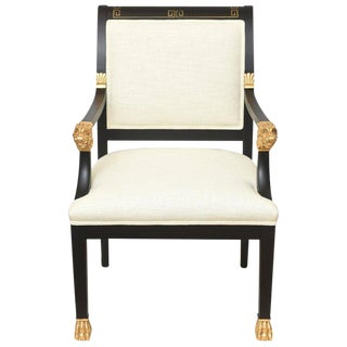 Greek Key, Ram and Gold Leafed Wood Upholstered Side/Desk/ Arm Chair For Sale