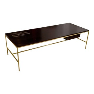 Ebony & Brass Coffee Table with Pamela Sunday Tile Inset For Sale