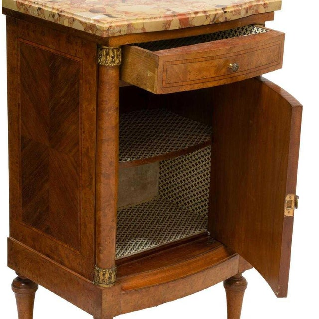 Empire 19th Century Empire Burl Walnut Marquetry Marble Top Antique Bedside Cabinet or Side Table For Sale - Image 3 of 13