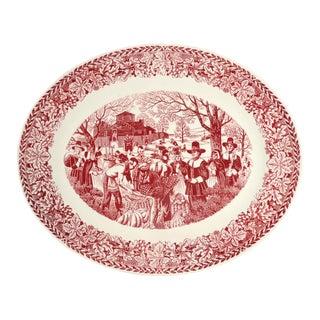 "1960s Homer Laughlin Bountiful Harvest Pilgrim 22"" Oval Serving Platter For Sale"
