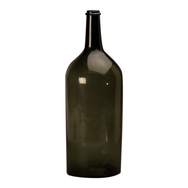 Tall green glass hand blown bottle from France c.1870 For Sale