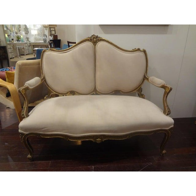 Lovely 19th century Italian Louis XV style gilt wood loveseat, sofa, canapé or settee. This antique sofa would work well...