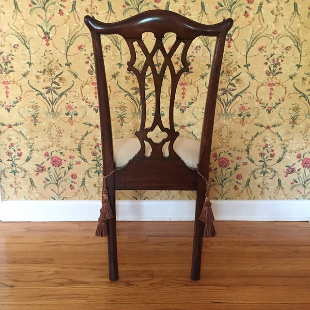 Fabric Maitland Smith Regency Chippendale Carved Dining Set For Sale - Image 7 of 8
