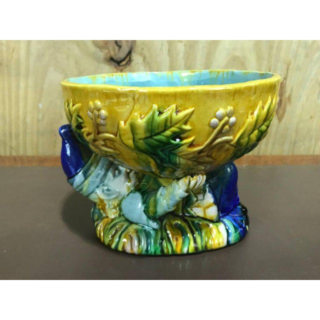 "Blue Majolica George Jones Style ""Punch"" Bowls - A Pair For Sale - Image 8 of 10"