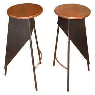 Pair of French Industrial Metal and Wood Stools For Sale
