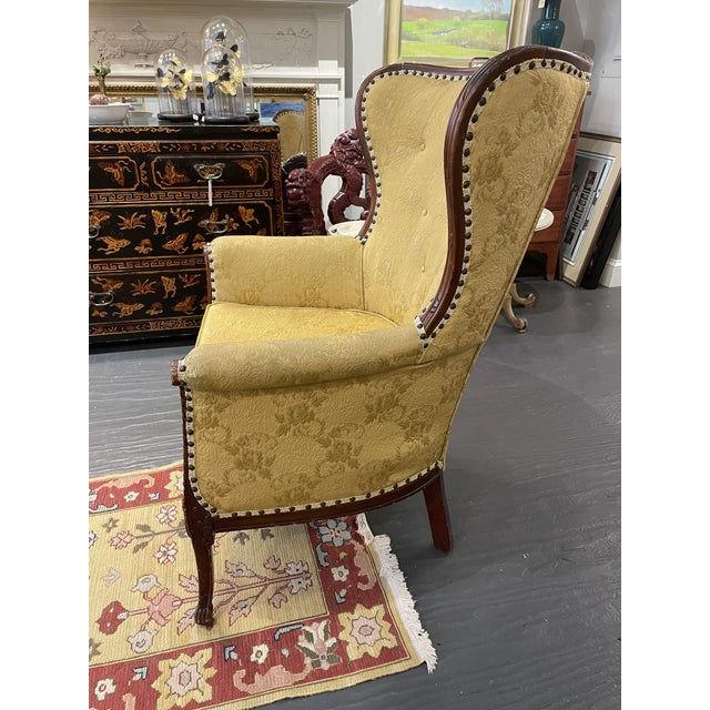 1950s Vintage French Wingback Mahogany Chair For Sale - Image 4 of 7