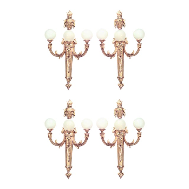 French Louis XVI Style Monumental Three-Arm Wall Sconces - Set of 4 For Sale