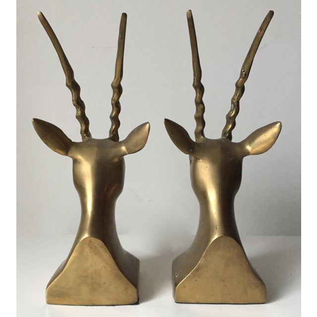 Vintage Large Brass African Deer Bookends - a Pair - Image 4 of 6