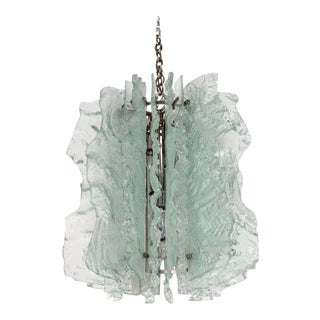 Rare Mid Century Modern Ice Glass Chandelier With Relief Design For Sale
