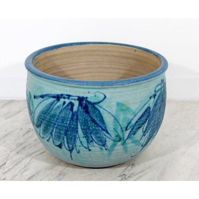 Mid-Century Modern Signed j.t. Abernathy Blue Glazed Ceramic Pot, 1960s For Sale - Image 4 of 8