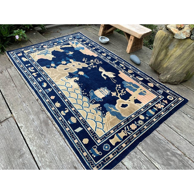 Antique 1910s Blue Chinese Pictorial Rug- 5′ × 8′ For Sale - Image 10 of 13