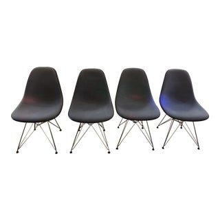 Mid Century Modern Blue Herman Miller Original Eames Upholstered Dsr Dining Side Shell Chairs With Silver Eiffel Base - Set of 4 For Sale