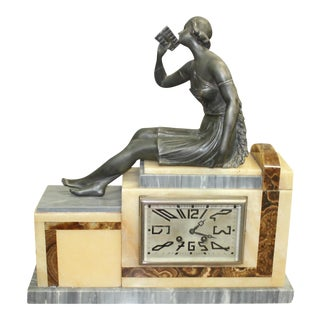 French Art Deco 3-Piece Clock Garniture, Marble with Woman Sitting, Circa 1940s