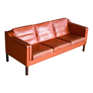 Danish Modern Børge Mogensen Model 2213 Style Sofa in Cognac Leather by Stouby For Sale