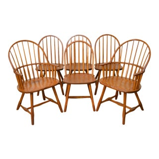 Hunt Country Furniture Set of 6 Solid Oak Windsor Dining Chairs