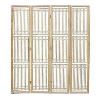 Chinese Raw Finish Wood Panel Room Divider