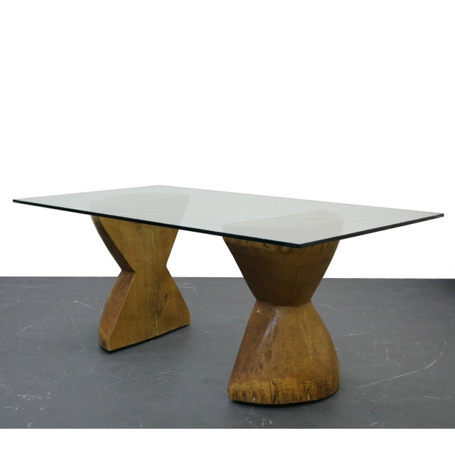 George Nakashima Pair of Raw Live Edge Wood Hourglass Dining Table Pedestals For Sale - Image 4 of 6