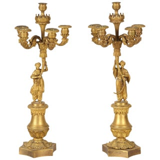 Pair of Gilt Bronze Candle Sticks For Sale
