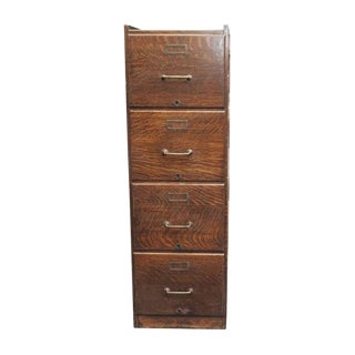 20th Century Traditional Quarter Sawn Oak File Cabinet For Sale