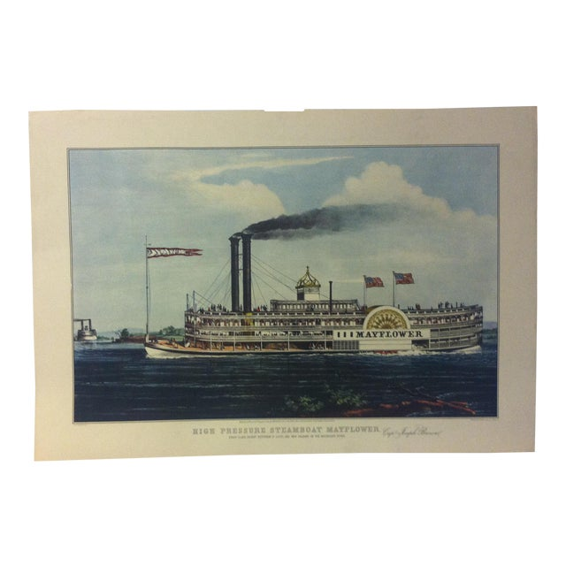 "Currier & Ives Color Print, ""High Pressure Steamboat - Mayflower"", 1954 For Sale"
