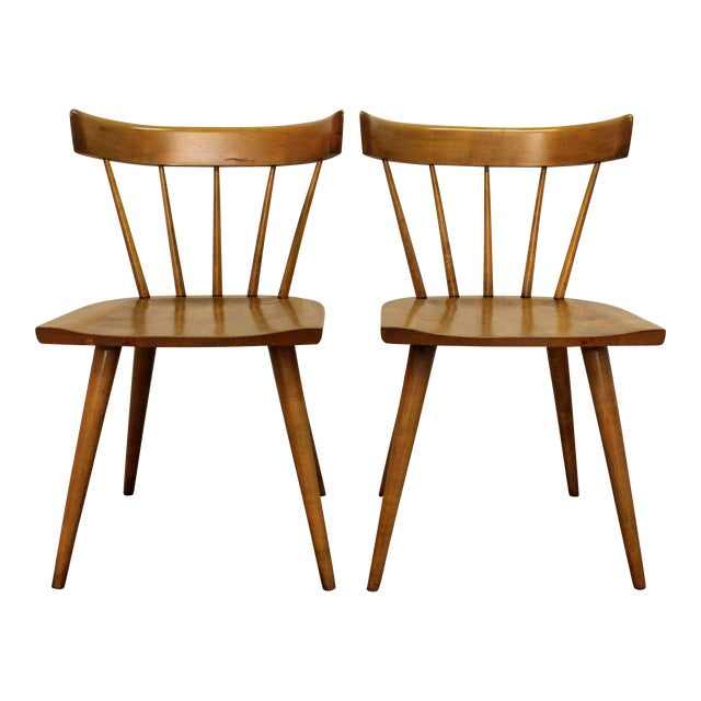 Mid-Century Danish Modern Paul McCobb Spindle Back Side Dining Chairs - a Pair For Sale