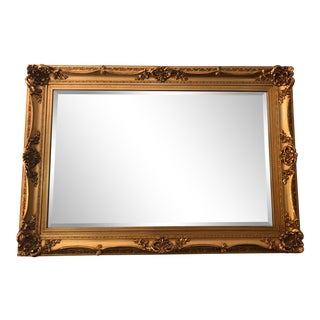 20th Century Large Hollywood Regency Gilded Framed Beveled Glass Mirror 58x41 For Sale