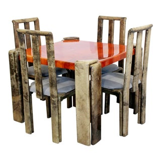 Mid-Century Modern Lacquered Goatskin Dinette Game Table Chairs Enrique Garcel - Set of 5 For Sale