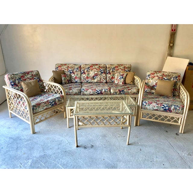 Hollywood Regency Style Rattan/Bamboo Patio Set of 5 For Sale - Image 9 of 9