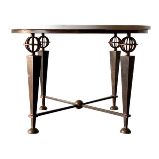 Poillerat Style Round Iron Table For Sale