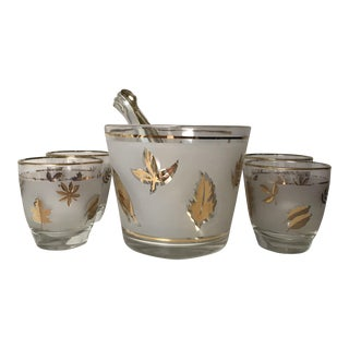 Mid-Century Modern Libbey Goldleaf Whiskey Glasses and Ice Bucket - 6 Pc. Set