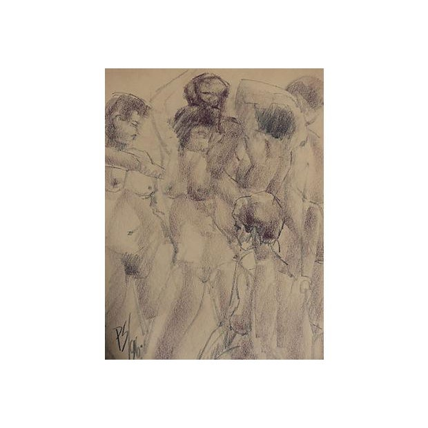 Original drawing of nudes by Paul Silverthorne (1914 - 2007). Silverthorne was a top Miami Beach interior designer and...