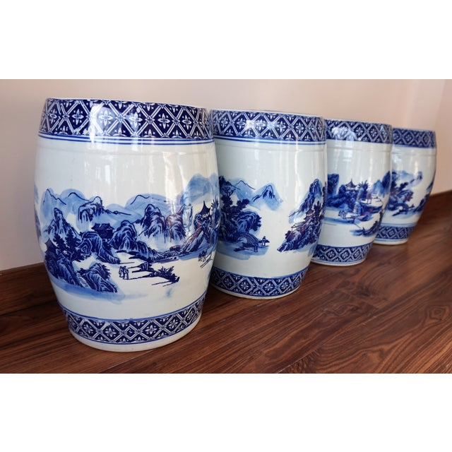 Blue and White Floral Motif Chinese Porcelain Garden Seats & Table - Set of 5 For Sale - Image 9 of 14