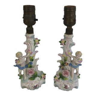 Antique German Porcelain Cherub & Roses Small Table Lamps - a Pair For Sale
