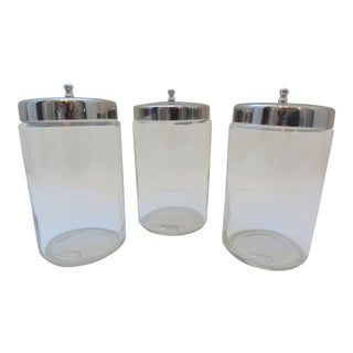 Vintage Clear Glass Apothecary Jars Stainless Lids - Set of 3 For Sale