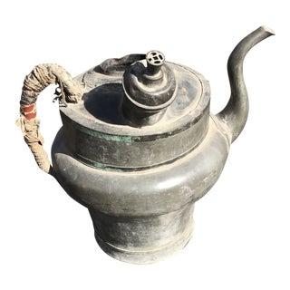 Antique Chinese Pewter Tea Vendors Pot For Sale