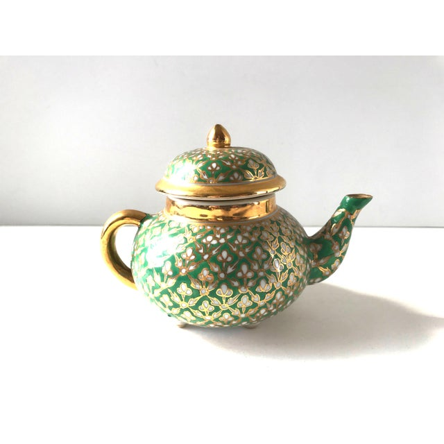 19th Century Antique Old Paris Porcelain Green and Gold Teapot For Sale - Image 5 of 10