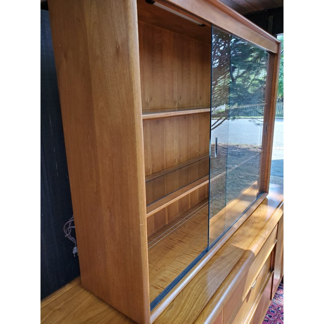 Drexel Mid-Century Modern Parallel China Cabinet For Sale - Image 9 of 13
