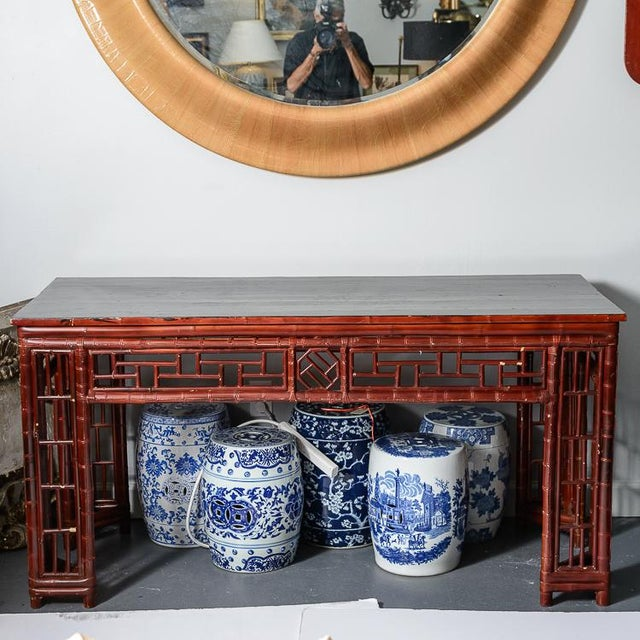 Antique Chinese Chippendale Bamboo Altar Table/Console For Sale - Image 9 of 13