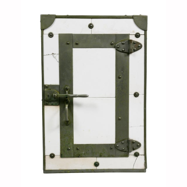"""Rectangular form with nickel plated mounts with door marked on inside """" Porcelain Cigar Case"""" Made by Wilke Mfg Co,..."""