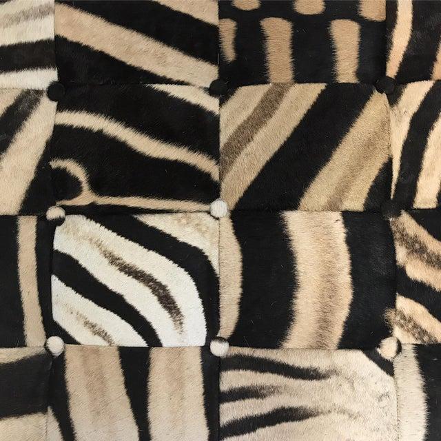 Forsyth One of a Kind Patchwork Zebra Hide Ottoman For Sale - Image 4 of 8