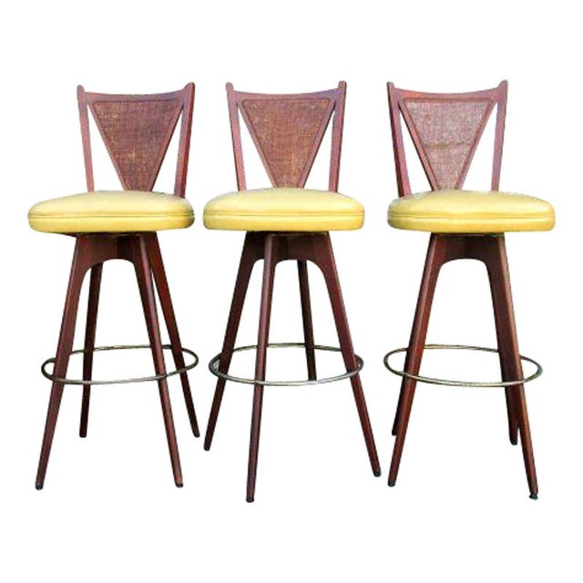 Mid-Century Wicker Back Bar Stools - Set of 3 For Sale