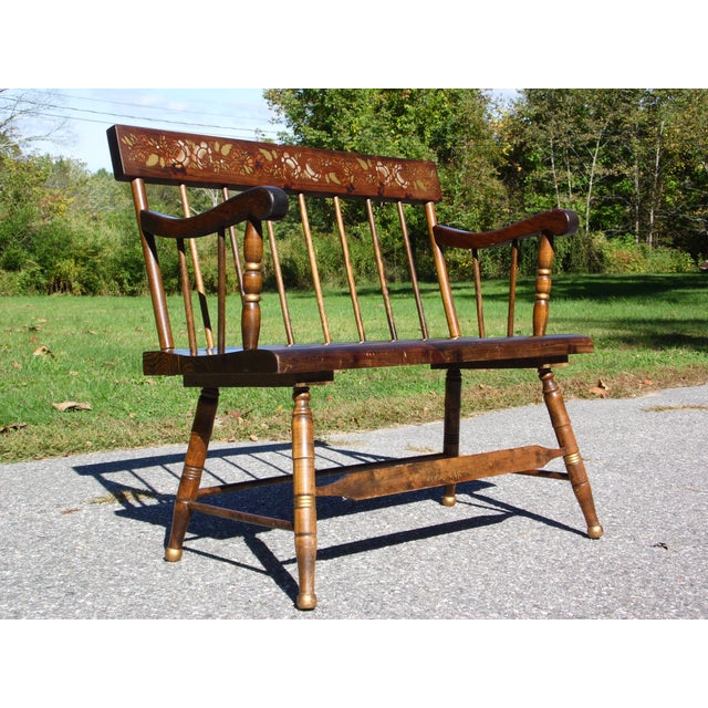 Vintage Spindle Back Harvest Stenciled Solid Pine Farmhouse Bench Settee For Sale - Image 4 of 13
